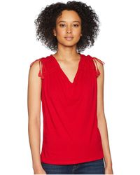 Lauren by Ralph Lauren - Ruched Shoulder Tank Top (lipstick Red) Women's Sleeveless - Lyst