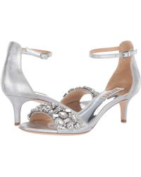 40cca85d1 Lyst - Badgley Mischka Lara Embellished Metallic Kitten-heel Sandals