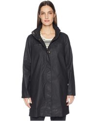 Eileen Fisher - Waxed Organic Cotton Stretch Twill Hidden Hood A-line Jacket (black) Women's Coat - Lyst