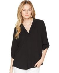 Calvin Klein - Roll Sleeve Blouse With Inverted Pleat Front - Lyst