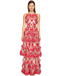 Notte by Marchesa - 3d Embroidered Gown W/ Sleeveless Bodica And Two Tiered Skirt - Lyst
