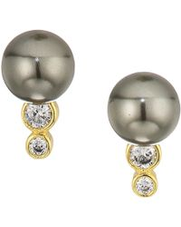 Cole Haan - Pearl Stud Earrings With Cubic Zirconia Stone Accents (gold/clear Cubic Zirconia/dark Grey Glass Pearl) Earring - Lyst