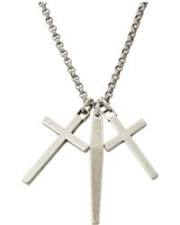 Steve Madden - Gunmetal Dangle Cross And Bar Necklace With 18 Chain (silver) Necklace - Lyst