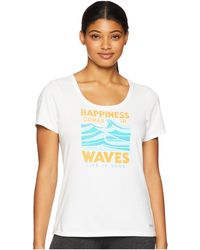 Life Is Good. - Happiness Comes In Waves Crusher Scoop Neck T-shirt (cloud White) Women's T Shirt - Lyst
