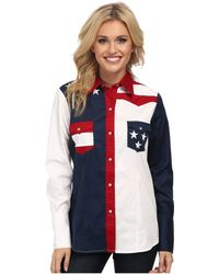 Roper - Pieced Stars And Stripes Patriotic (blue) Women's Long Sleeve Button Up - Lyst