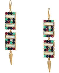 Steve Madden - Rectangle Design Jewels With Spike Drop Earrings (multicolor/yellow Gold-tone) Earring - Lyst