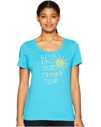 Life Is Good. - Live On The Sunny Side Crusher Scoop Neck T-shirt (vivid Blue) Women's T Shirt - Lyst