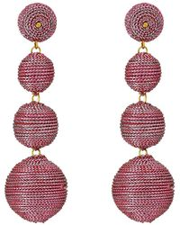 Kenneth Jay Lane | 3 Metallic Pink Thread Small To Large Wrapped Ball Post Earrings W/ Dome Top | Lyst