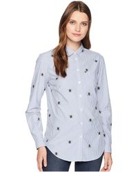 Joules - Lucie Printed Classic Fit Shirt (blue Botanical Bee Stripe) Women's Clothing - Lyst