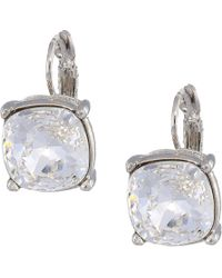 Kenneth Jay Lane - Silver Eurowire/crystal 12mm Faceted Square Stone Earrings (crystal) Earring - Lyst