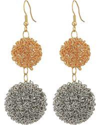 Kenneth Jay Lane - Gold/silver Double Wire Ball Drop W/ Fishhook Ear Earrings (gold/silver) Earring - Lyst