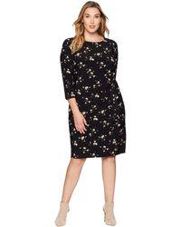 Lauren by Ralph Lauren - Plus Size Flutter Floral Amadora 3/4 Sleeve Day Dress (black/blush/multi) Women's Dress - Lyst