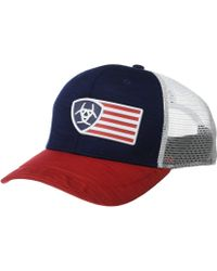 0715388b0ce Ariat - Rubberized Flag Logo Snapback Cap (navy red white) Caps -
