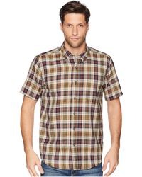 Pendleton - Linen Short Sleeve Button Down Collar Shirt (black/tan Plaid) Men's Clothing - Lyst