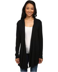 Allen Allen - Hooded Open Cardigan (black) Women's Sweater - Lyst