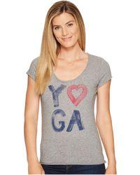 Life Is Good. - Yoga Heart Smooth Tee (heather Gray) Women's T Shirt - Lyst