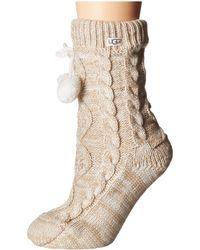 UGG - Pom Pom Fleece Lined Crew Sock (navy) Women's Crew Cut Socks Shoes - Lyst