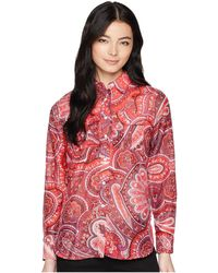 Lauren by Ralph Lauren - Petite Silk Cotton Voile Long Sleeve Shirt - Lyst