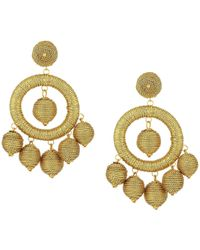 Kenneth Jay Lane - Graduated Gold Thread Wrapped Balls Drops W/ Dome Top Post Earrings - Lyst