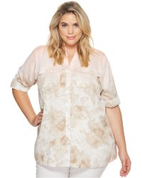 CK Calvin Klein - Plus Size Printed Roll Sleeve Blouse - Lyst