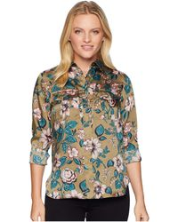Lauren by Ralph Lauren - Petite Floral-print Button-down Shirt (olive Multi) Women's Long Sleeve Button Up - Lyst