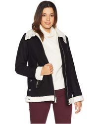 Vince Camuto - Zippered Front Wool Short Coat With Sherpa Trim R8351 (black) Women's Coat - Lyst