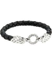 John Hardy - Legends Eagle Double Head 8mm Bracelet And Black Leather (silver) Bracelet - Lyst