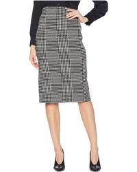 Lauren by Ralph Lauren - Plaid Check Houndstooth Wool Midi Length Pencil Skirt - Lyst