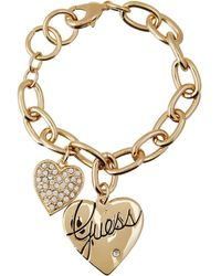 Guess - Two Heart Charm Bracelet - Lyst