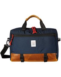 Topo Designs - Commuter Briefcase (navy/brown Leather) Bags - Lyst