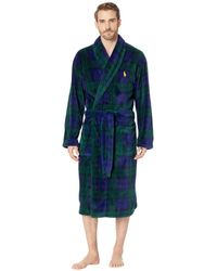 Polo Ralph Lauren - Microfiber Plush Long Sleeve Shawl Collar Robe  (blackwatch Plaid polo fca279196ed