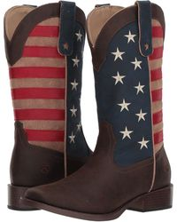Roper - American Patriot (brown Vintage Faux Leather W/ Flag Shaft) Cowboy Boots - Lyst