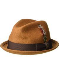b5c1cc33fdd Brixton - Gain Fedora (heather Coffee) Traditional Hats - Lyst