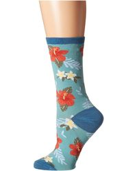 Socksmith - Aloha Floral (sky Blue) Women's Crew Cut Socks Shoes - Lyst