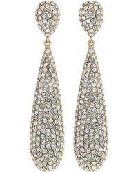 Nina - Elongated Pave Teardrop Earrings; Elements By Swarocski (gold/white) Earring - Lyst