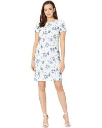 Lauren by Ralph Lauren - B773 La Vara Floral Adika Short Sleeve Day Dress (lauren White/blue/multi) Women's Dress - Lyst