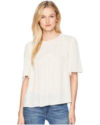 Cece - Short Sleeve Jacquard Blouse With Crochet Trim (antique White) Women's Blouse - Lyst