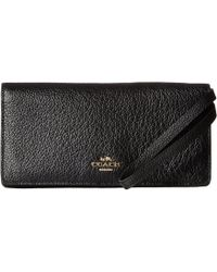 4533d213717b COACH - Pebbled Leather Slim Wallet (li black) Wallet - Lyst