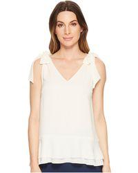 Cece - Short Sleeve V-neck Layered Blouse (antique White) Women's Blouse - Lyst