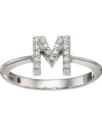 Roberto Coin - Tiny Treasure Initial M Love Letter Ring (white Gold) Ring - Lyst