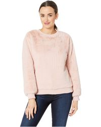 Two By Vince Camuto - Long Sleeve Faux Fur Rib Hem Sweatshirt (dusty Blush) Women's Sweatshirt - Lyst
