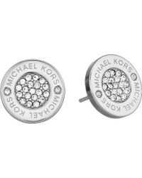 Michael Kors - Logo With Clear Pavé Center Stud Earring - Lyst