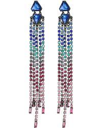 Rebecca Minkoff - Gemma Slim Crystal Fringe Earrings (blue) Earring - Lyst