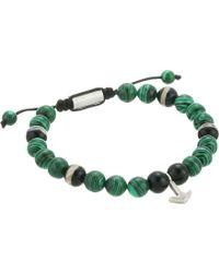 Steve Madden - Malachite Bead With Anchor Charm Bracelet (green) Bracelet - Lyst