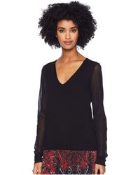 Fuzzi - Sweater With Tulle Sleeves (nero) Women's Sweater - Lyst