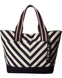 Tommy Hilfiger - Classic Tommy Chevron Canvas Tote - Lyst