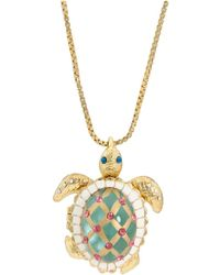 Betsey Johnson - Sea Excursion Long Necklace With Turtle Pendant (green) Necklace - Lyst