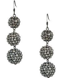 Kenneth Jay Lane - 3 Ball Drop Fishhook Earrings (hematite) Earring - Lyst