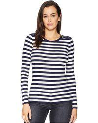 Lauren by Ralph Lauren - Zip-trim Cotton-blend Top (navy/mascarpone Cream) Women's Clothing - Lyst