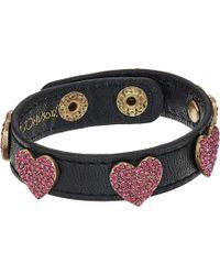 Betsey Johnson - Multi Stone Heart Leather Snap Bracelet (multi) Bracelet - Lyst